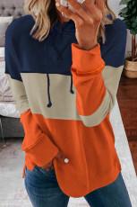 Orange Drawstring Color Block Stripe Casual Hoodie