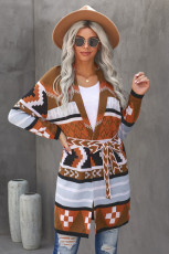 Multicolor Ethnic Style Knee Length Open Front Cardigan