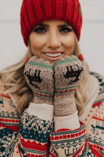 Khaki Christmas Reindeer Print Knit Gloves