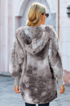 Gray Tie Dye Soft Fleece Hooded Open Front Coat