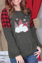 Grey Scandinavian Gnomes Print Plaid Christmas Sweatshirt