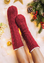 Red Knitted Warm Comfortable Plush Socks