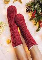 Красные вязаные теплые удобные плюшевые носки