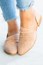 Sepatu Flat Suede Ujung Runcing Khaki Fashion
