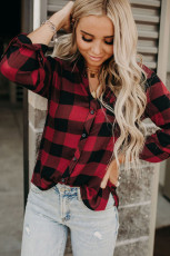 Rød Buffalo Plaid Button Pocket Bluse