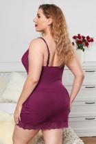 Сексуальное женское белье больших размеров с фиолетовым кружевом