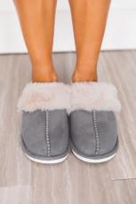 Grijze fuzzy suède winterslippers