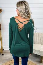 Green Leopard Print Pocket Criss Cross Back Top