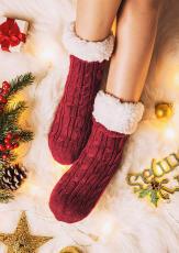 Șosete de pluș confortabile tricotate calde roșii