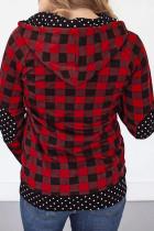 Red Plaid Polka Dot Splicing Zipper Kangaroo Pocket Hoodie