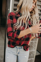 Red Buffalo Plaid Button Taschenbluse