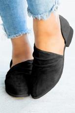 Sepatu Flat Suede Ujung Runcing Busana Hitam