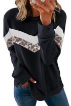 Sweatshirt Blok Warna Leher Kru Cetak Macan Tutul Hitam