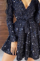 Black Sequin Deep V Long Sleeve Evening Dress with Waist Tie