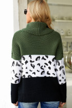 Green Turtleneck Splicing Chunky Knit Pullover Sweater
