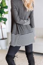 Top túnica gris a rayas de patchwork