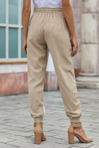 Khaki Casual Striped Drawstring Pants