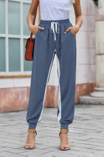 Blue Casual Striped Drawstring Pants