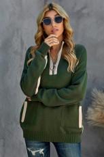 Зеленый уютный свитер с высоким воротом и карманом на молнии 1/4