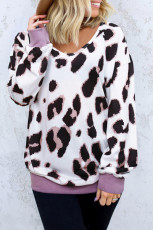 Свитшот с капюшоном и длинными рукавами с леопардовым принтом и V-образным вырезом