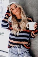 Sweater Bahu Drop Bergaris Hitam