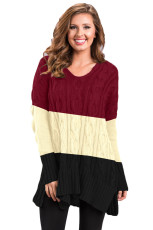 Sweater Rajut Kabel Colorblock Hitam dengan Celah