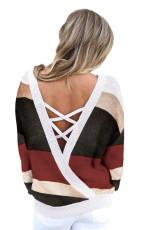 Sweater Rajut Hollow-out Merah Crisscross V Kembali