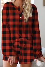Conjunto Lounge Red Plaid Knit