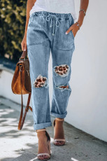 Leopard Patches Cotton Pocketed Denim Jeans