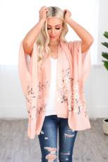 Bihara Pembe Daisy Woven Kimono