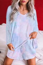 Комплект одежды для дома с топом Tie Dye и шортами на шнурке