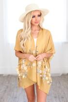 Gele geweven kimono met madeliefjes