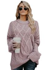 Розовый толстый пуловер оверсайз