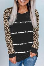 Musta leopardihihainen solmittava raita-painatuspaita