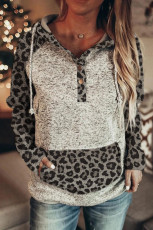 Color Block Leopard Long Sleeves Grey Hoodie