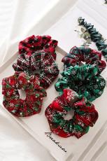 طقم سكرنشي شيفون منقوش باللونين الأحمر والأخضر 6 قطع