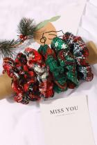 Piros és zöld hópehely kockás sifon Scrunchie 6 db készlet