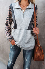 Серая толстовка-пуловер с леопардовым принтом и карманами