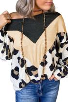 Топ с длинными рукавами и открытыми плечами с леопардовым принтом Color Block