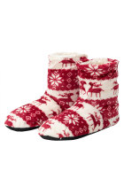 Red Christmas Reindeer Snowflake Print Indoor Warm Non-slip Plush Boot