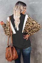 Черный свитшот с леопардовым принтом и карманами на молнии
