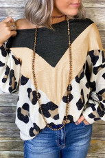 Leopard Print Color Block Cold Shoulder Atasan Lengan Panjang