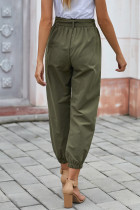 Green Solid Color Frock-style Pants with Belt