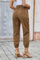 Khaki Solid Color Frock-style Pants with Belt
