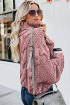 Różowy, przytulny, ręcznie robiony sweter z golfem