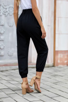Черные однотонные брюки в стиле Frock с поясом