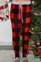 بنطلون رياضي برباط بجيوب منقوشة باللون الأحمر الجاموس للكريسماس