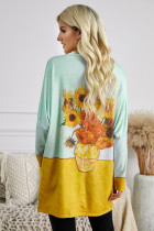 Sunflower Printing Long Sleeve Tunic Top With Two Side Pockets