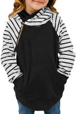 Garis-garis Hitam Splicing Diagonal Zipper Hoodie Anak