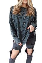 Пуловер с леопардовым принтом, длинным рукавом и разрезами